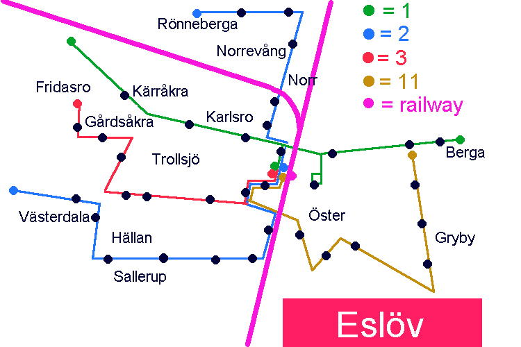 Schematic map over Eslöv bus network.