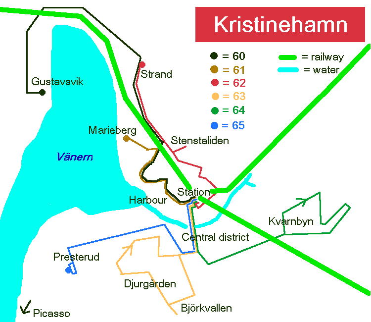 Schematic map over Kristinehamn bus network.