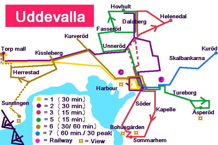 Schematic map over Uddevalla bus network.