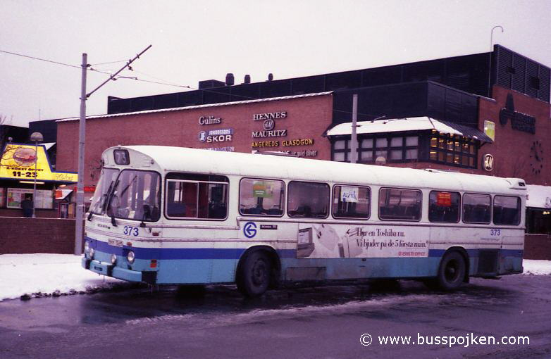 Scania 111, GS 373 by Angered centrum in February 1991.