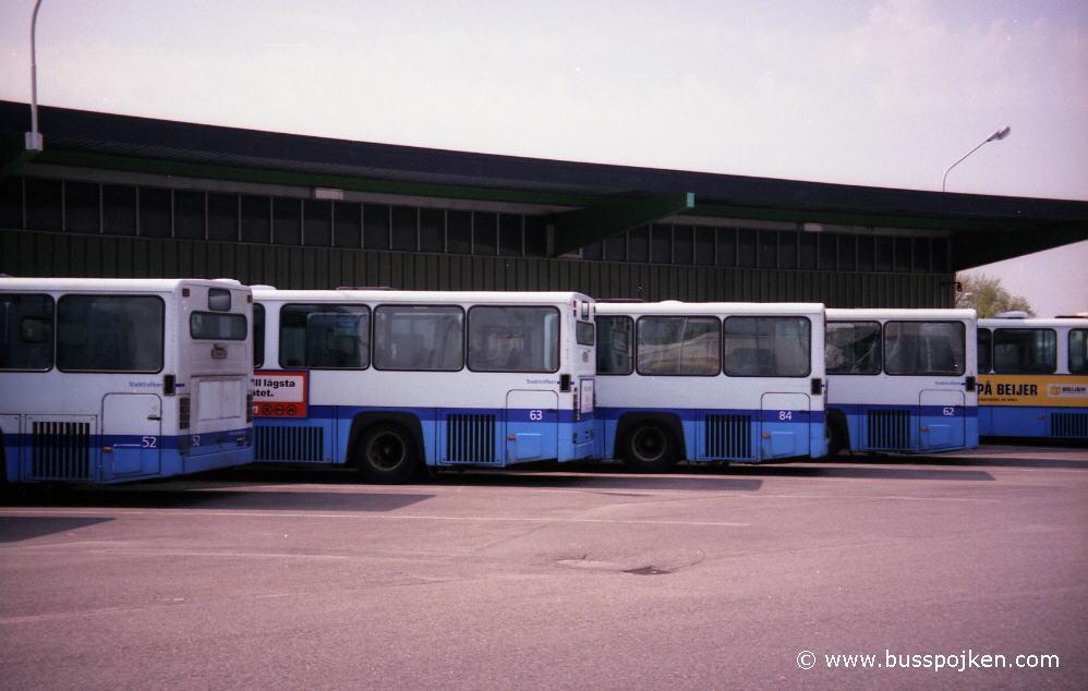 From left 52, 63, 84, 62 at Kville depot in June 2000.