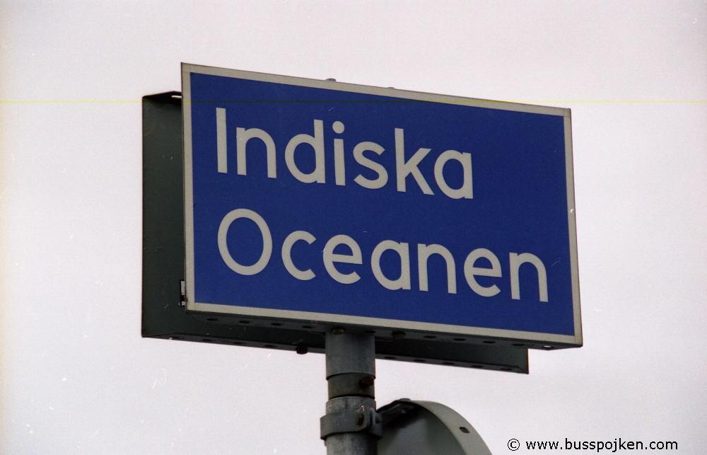 Street sign Indiska Oceanen (Pacific ocean).