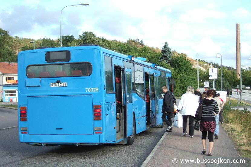 Orusttrafiken 70028, route 1 by Marklandsgatan in 2008.