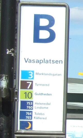Vasaplatsen tram and bus stop pole.