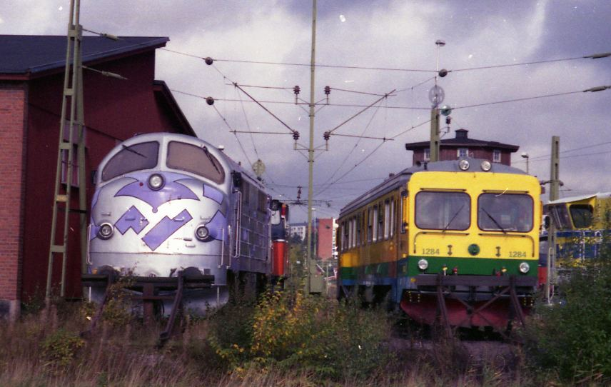 Railway vehicles at sidings in Kristinehamn.