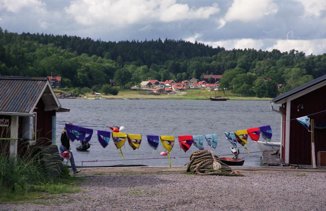 Ljungskile, life wests on a clothesline.